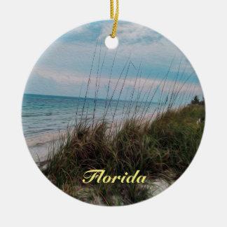 Scène de bord de la mer d'océan de la Floride Ornement Rond En Céramique