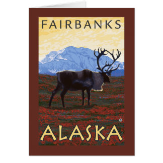 Scène de caribou - Fairbanks, Alaska Carte De Vœux