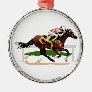 Scène de course de chevaux ornement rond argenté