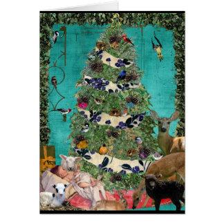 Scène de fête de nativité carte de vœux