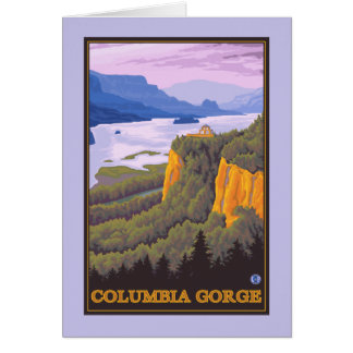 Scène de gorge du fleuve Columbia avec le point de Carte De Vœux