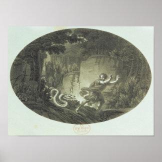 """Scène """"de la cannelure magique"""" par Mozart Affiche"""