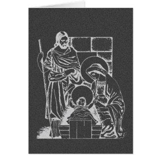 Scène de nativité de gris et de blanc de charbon carte de vœux