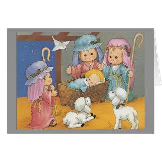 Scène de nativité de Noël Carte De Vœux