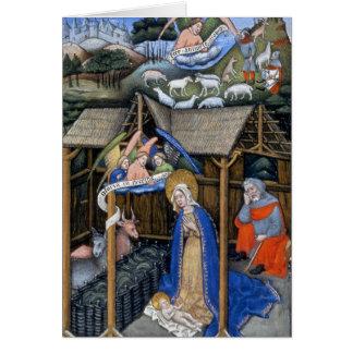 Scène de nativité d'un évangile lumineux par cartes