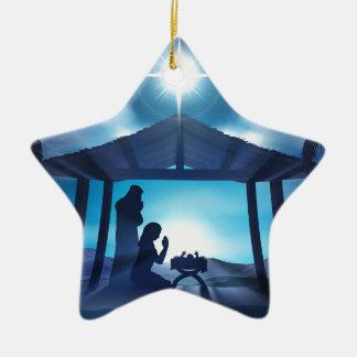 Scène de Noël de nativité de Manger Ornement Étoile En Céramique