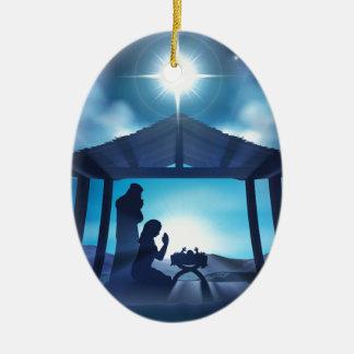 Scène de Noël de nativité de Manger Ornement Ovale En Céramique