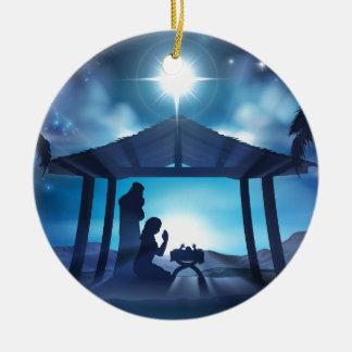 Scène de Noël de nativité de Manger Ornement Rond En Céramique