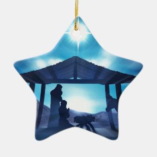 Scène de Noël de nativité Ornement Étoile En Céramique