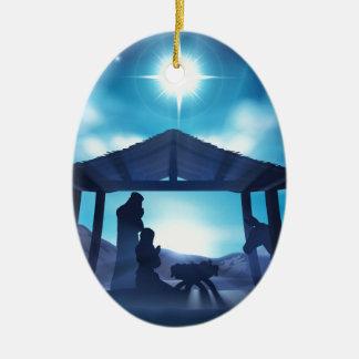 Scène de Noël de nativité Ornement Ovale En Céramique