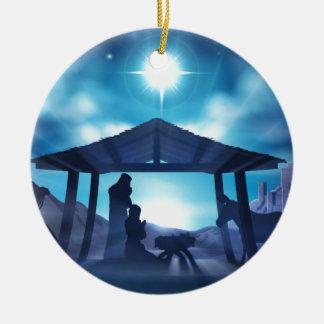Scène de Noël de nativité Ornement Rond En Céramique