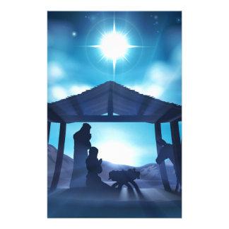 Scène de Noël de nativité Papier À Lettre Personnalisé