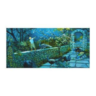 Scène de nuit dans la copie de toile de jardin de