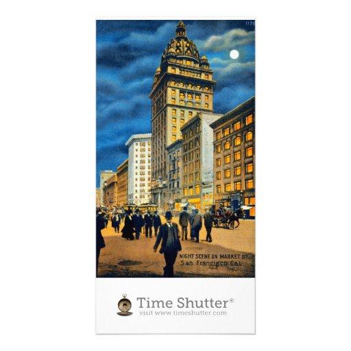 Scène de nuit sur le ~ 1915 de rue du marché photocartes personnalisées