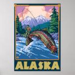 Scène de pêche d'AlaskaFly Posters
