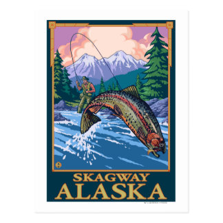 Scène de pêche de mouche - Skagway, Alaska Carte Postale