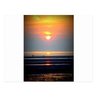 Scène de plage de coucher du soleil, Crosby, Liver Carte Postale