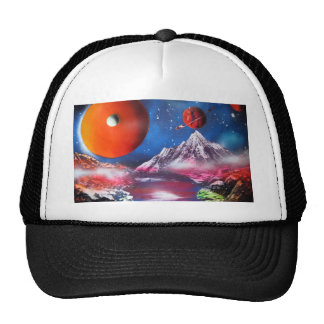 Scène de planètes d'espace extra-atmosphérique casquettes