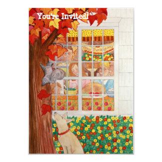 Scène de repas de famille de bon thanksgiving carton d'invitation  11,43 cm x 15,87 cm