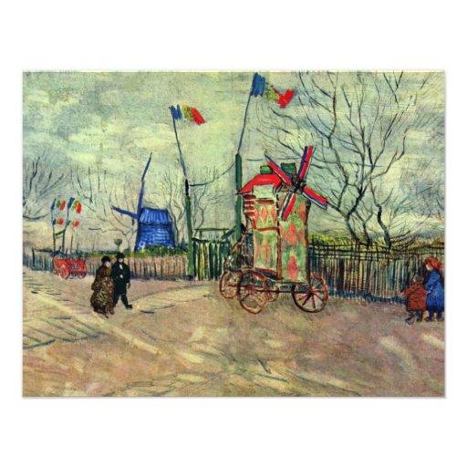Scène de rue en Montmartre Le Moulin À Poivre par  Cartons D'invitation