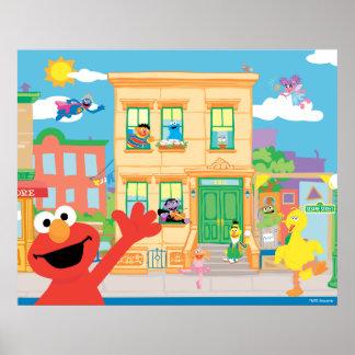 Scène de Sesame Street d'Elmo Posters