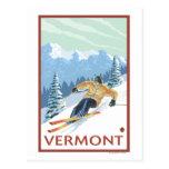 Scène de skieur de VermontDownhill Cartes Postales