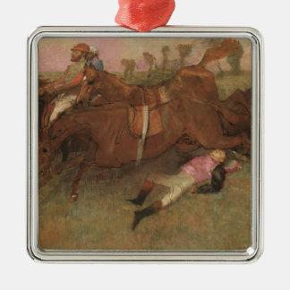 Scène d'Edgar Degas | de la course d'obstacles Ornement Carré Argenté