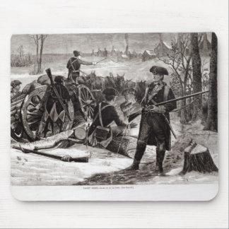 Scène d'hiver au campement continental d'armée tapis de souris