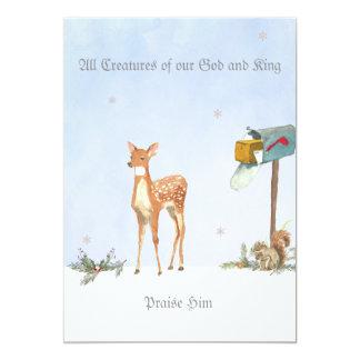 Scène d'hiver avec la carte religieuse de cerfs carton d'invitation  12,7 cm x 17,78 cm