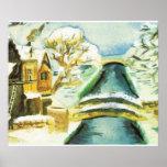Scène d'hiver, canaux dans la neige poster