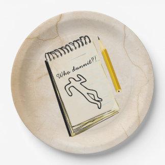 Scène du crime de plaques à papier de meurtre et assiettes en papier