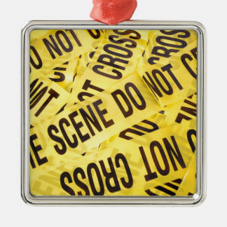 Scène du crime ornement carré argenté