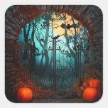 Scène effrayante de Halloween (2) - personnaliser Sticker Carré
