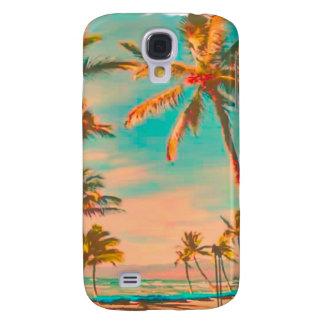 Scène hawaïenne vintage/sarcelle d'hiver de plage coque galaxy s4