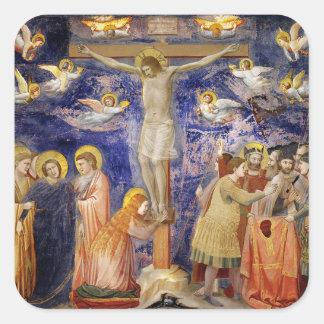 Scène médiévale de Vendredi Saint Sticker Carré