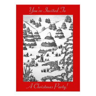 scène mignonne de neige de renard et de Noël de Invitations Personnalisées