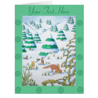 scène mignonne de neige de renard et de Noël de la Carte