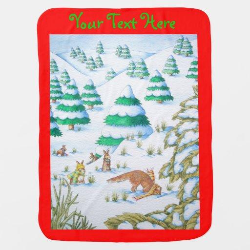 scène mignonne de neige de renard et de Noël de la Couvertures De Bébé