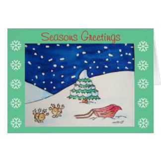 Scène mignonne de neige de renne avec le traîneau  cartes