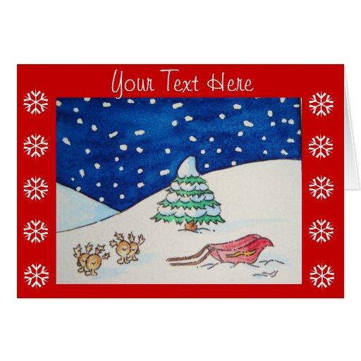Scène mignonne de neige de renne avec le traîneau carte de vœux