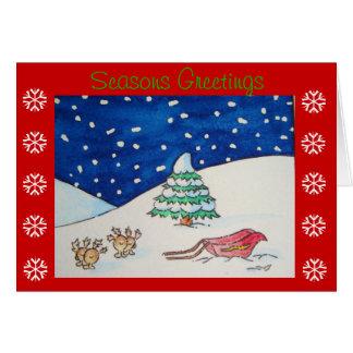 Scène mignonne de neige de renne avec le traîneau cartes de vœux