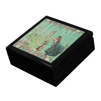 Scène rustique de lapin de Pâques peinte par cru Boîte À Souvenirs