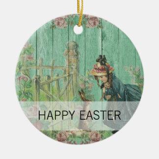 Scène rustique de lapin de Pâques peinte par cru Ornement Rond En Céramique