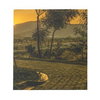 Scène tropicale de coucher du soleil de paysage bloc-note