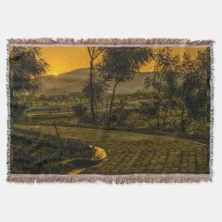 Scène tropicale de coucher du soleil de paysage couvertures