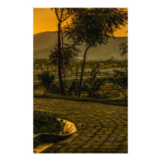 Scène tropicale de coucher du soleil de paysage motifs pour papier à lettre