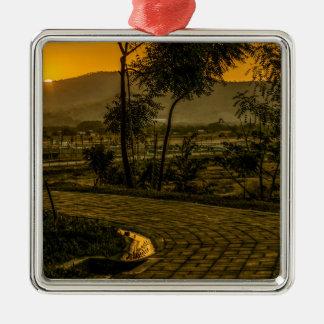 Scène tropicale de coucher du soleil de paysage ornement carré argenté