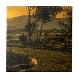 Scène tropicale de coucher du soleil de paysage petit carreau carré