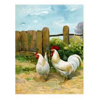 Scène vintage de basse-cour cartes postales