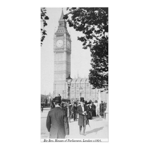 Scène vintage de rue de Londres, tour d'horloge de Cartes Avec Photo